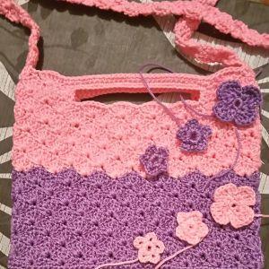 Χειροποίητη πλεκτη τσάντα ροζ/μοβ