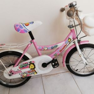 Πωλείται παιδικό ποδήλατο σε πολύ καλή κατάσταση χρώματος ροζ μαζί με βοηθητικές ρόδες.