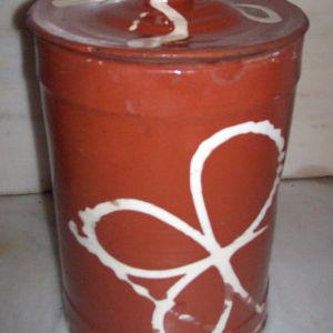 Πηλινο γυαλομένο δοχείο για ελιές του 1950-1960
