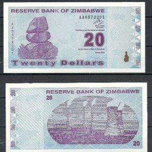 ZIMBABWE 20 DOLLARS 2000 UNC