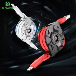 Καλώδιο USB Retractable Floveme για το iPhone X 10 7 8 + Micro USB 20cm-1m Τύλιγμα 2.1a Φορτιστής μπαταρίας κινητού τηλεφώνου για Samsung Xiaomi Cabo