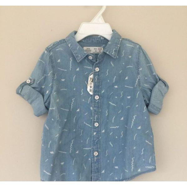 fb6cc1ea7cd Zara Baby Boy Denim Shirt Light Blue New With Tag 12/18 Months ...