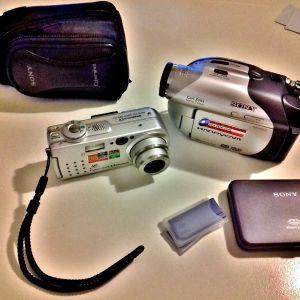 Sony DCR-DVD105E Handycam Camcorder & Sony DSC-P5 Digital Camera (Lot 2 τεμ.)