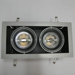 Φωτιστικό Ψευδοροφής ΔΙΠΛΟ για λάμπες AR111 Κινητό Αλουμίνιο Σώμα Ασημί