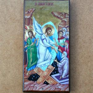 Ξύλινη χειροποίητη βυζαντινή εικόνα , αντίγραφο Αγιου Όρους