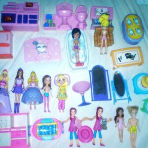 Συλλογή μικρές φιγούρες Polly Pocket, Barbie και έπιπλα