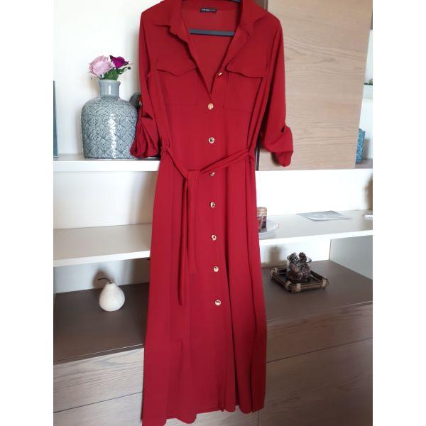 Κομψό Μπορντό midi φόρεμα με κουμπιά και ζωνάκι - αγγελίες σε Κρήτη ... 8d659e8aa5f
