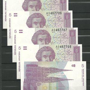 CROATIA 5 DINARA UNC x5