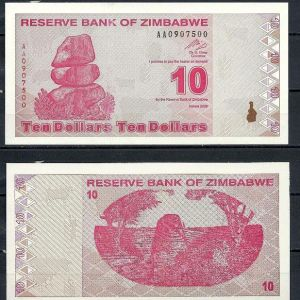 ZIMBABWE 10 DOLLARS 2000 UNC