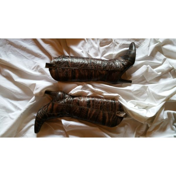 2112c1fb69c J.BOURNAZOS Δερμάτινες Kαφέ Κροκό Μπότες, … - € 150 - Vendora.gr