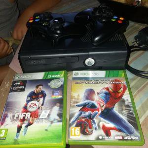 Πωλείται XBOX 360 σε πολύ καλή κατάσταση (2 ασύρματα τηλεχειριστήρια και δύο κασέτες:Fifa16& The amazing Spiderman)