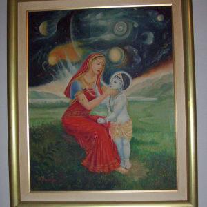"""Πίνακας λαδι σε καμβά """"Η μητερα του Κρίσνα"""""""