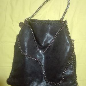 Μαυρη τσάντα μεταλλιζε