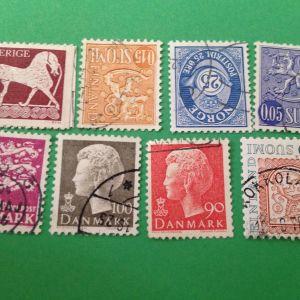33 Παλιά Διαφορετικά Γραμματόσημα Σκανδιναβία Σφραγισμένα