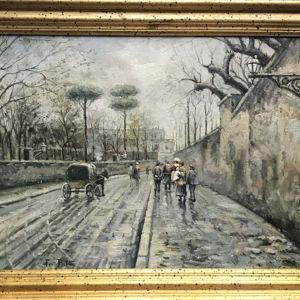 Αντίκα Πίνακας Ζωγραφικής του Fausto Pratella 1888, Strada del Vomero,  Λάδι σε καμβά