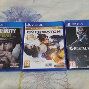 PS4 3 GAMES (COD WORLD WAR 2-OVER WATCH-MORTAL COMBAT XL)