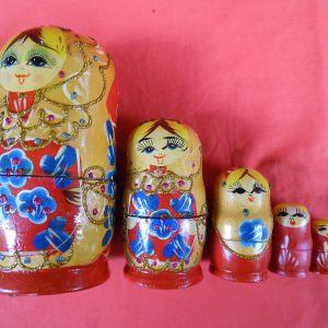 Αυθεντική παλιά Ρώσικη μεγάλη Μπαμπούσκα (7 κούκλες)
