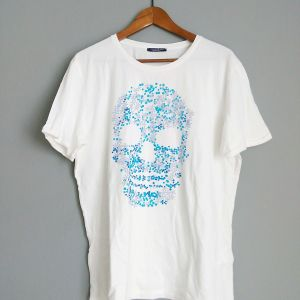 Calliope αντρικο  t-shirt  λευκο με γαλαζιο  skull.