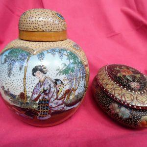 Χειροποίητο βάζο satsuma και μπιζουτιέρα .