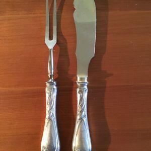 Σετ ασημένια vintage μαχαιροπήρουνα με σχέδιο