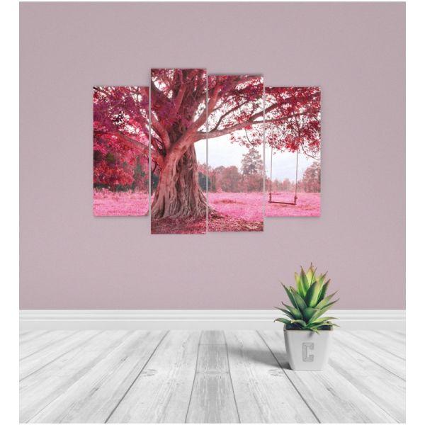 ef45ca05c8b μεταχειρισμενα Τετράπτυχος Πίνακας Σε Καμβά Ροζ Δέντρο Με Κούνια