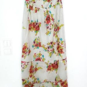 Λευκό μακρύ καλοκαιρινό εμπριμέ φόρεμα με λουλούδια 236748131b3