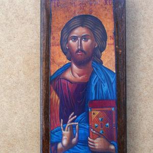 Ξύλινη χειροποίητη βυζαντινή εικόνα , αντίγραφο Αγίου Όρους.