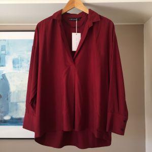 ZARA ολοκαίνουργια μπορντώ oversized πουκαμίσα με γιακά V